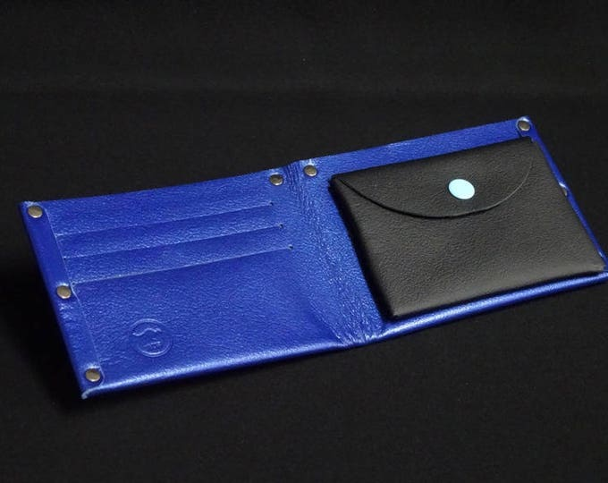 6Pocket Wallet with Coin - Blue Glaze - Kangaroo leather with RFID credit card blocking - Handmade - James Watson