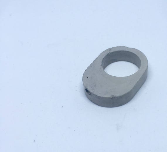 Concrete Ring - Elliptical // Statement Ring // Brutalist Ring // Architectural Ring