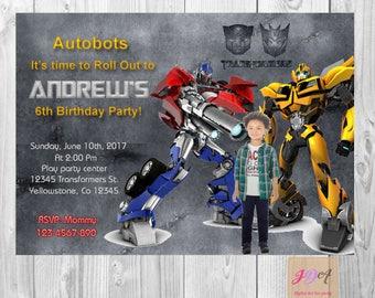 Transformers Invitation , Transformer Birthday Invitation , Transformer Party Invite