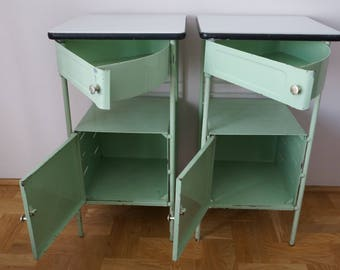 Pair of Retro Bedside Metal Cabinets 1950'