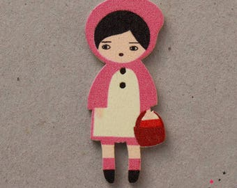Wooden riding button pink 4.5 cm