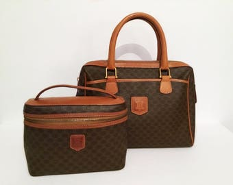 Vintage Celine handbag // matching train case cosmetic bag // French logo Brown