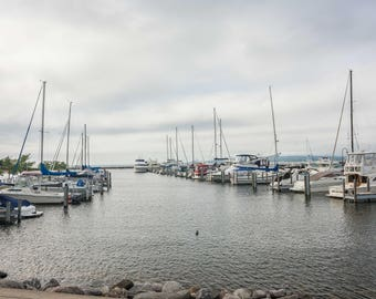 Petoskey City Marina and Duck Photograph Print 18 x12