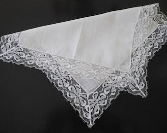 Vintage handkerchief with lace edges #123