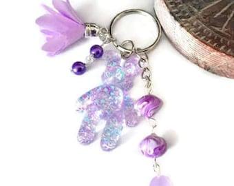Teddy purple tones Keyring