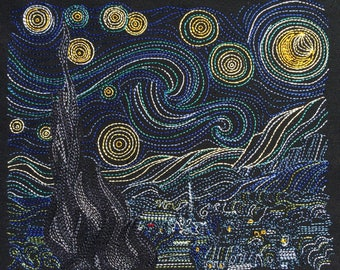 Van Gogh Starry Night Machine Embroidery Design 8x12