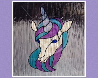 Unicorn, mythical creature window cling for glass & window areas, reusable faux stained glass effect decal, static cling suncatcher decals