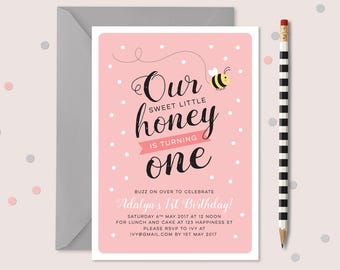 Girls Bumble Bee 1st birthday invitation // our little honey is turning one! Any age invitation 1st, 2nd, 3rd, 4th, 5th birthday invitation