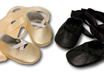 FREE SHIPPING! Baby Ballet Flats // Baby Ballet Slippers // Gold Baby shoes // Black baby shoes // Baby Girl Shoes