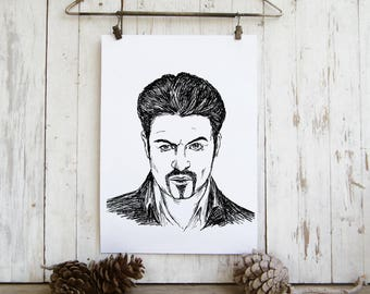 George Michael tribute, Printable Art, George Michael poster, Printable Wall Art, George Michel portrait, Black and White Prints