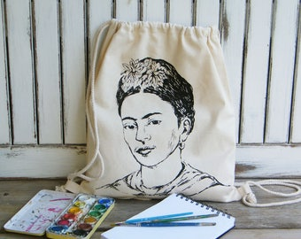 Frida Kahlo Bag, Bag For Woman, Art Lover Gift, Frida Kahlo Backpack, Cotton Bag Drawstring, Organic Cotton Bag, Bags & Purses, Hipster Gift