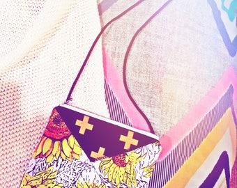 Feather sunflower and metallic cross shoulder bag