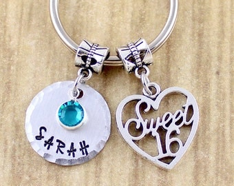 Personalized Sweet 16 Keychain - Sweet 16 Gift - Customized with Name & Birthstone