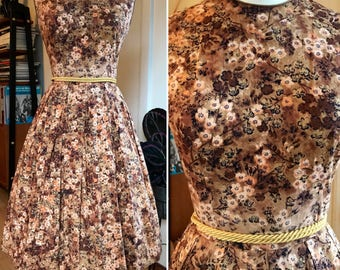 "Vintage 1950's Brown Floral Cotton Sundress by ""The Jones Girl""//Day Dress//Size Medium"