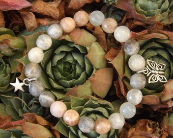 """Bracelet fairy """"Symphony of the senses"""" butterfly and star charms and Moonstone"""