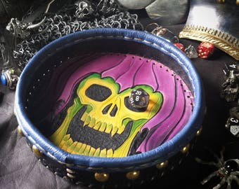 SKELETOR like LITCH -hand tooled leather dice tray