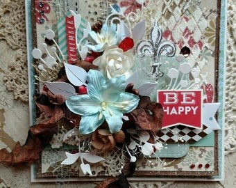"Beautiful Handmade Shabby Chic Red, Aqua, and Brown ""Be Happy"" Greeting Card #WC2017-20"