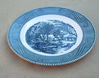 Vintage Blue Currier and Ives Plate by Royal