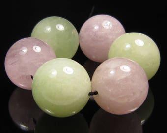14mm Mixed Pink Beryl (Morganite) and Green Beryl Round Bead - 6 Beads - #J6102