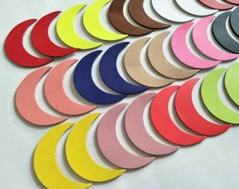 "Leather Crescent Moon, 50 Pcs. (25 Pairs), 50mm. (2"") 64mm. (2.5"") Long, Mixed Colors, Leaves Die Cut, Leaves Shape, Earing Accessories."