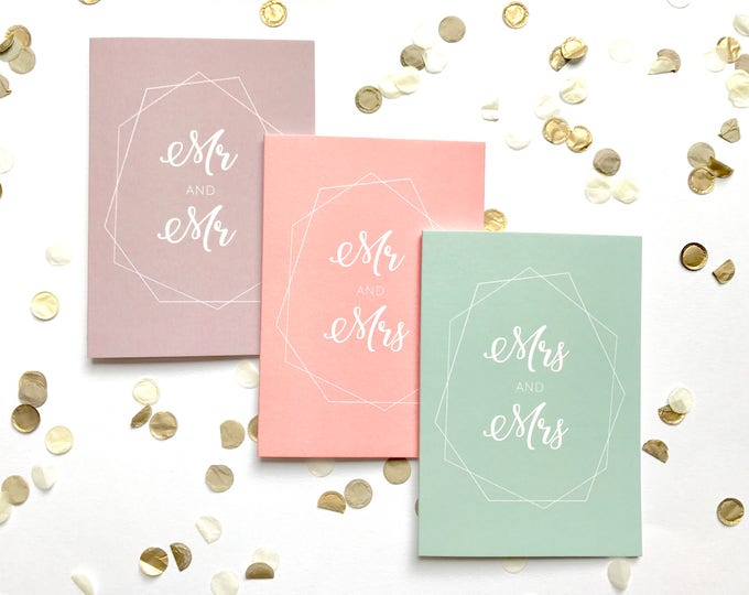 Featured listing image: Wedding card, coral, mint, taupe, pastel, handmade, personalised, typography