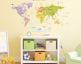 Decowall, DMT-1306, The Large World Map Wall Stickers
