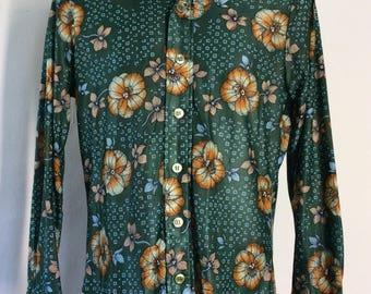Vtg 70s Campus Flower Print Disco Shirt M Green