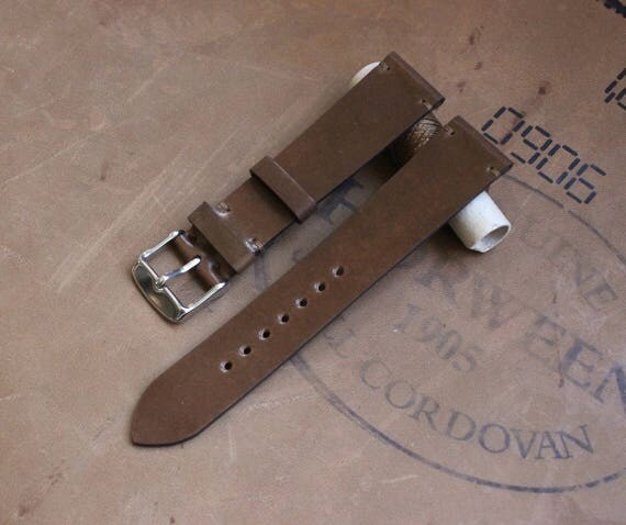 20/18mm Bourbon Horween Shell Cordovan watch band - simple side stitch