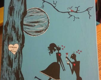 Lovers, true love, Silhouette, couples engagment, custom painting, Will You Marry Me?, marry me? I love you, shadow people, engagement