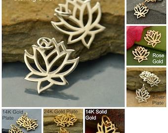 Sterling Silver, Small Lotus Charm, Tiny Lotus, Lotus Charm, Small Silver Lotus, Silver Lotus Charm, Bronze Lotus Charm, Rose Gold Lotus