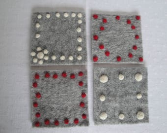grey felt coasters, hygge homewares, scandi design mats, housewarming gift, felt candle mats, grey cream red mats, Christmas gift, coasters