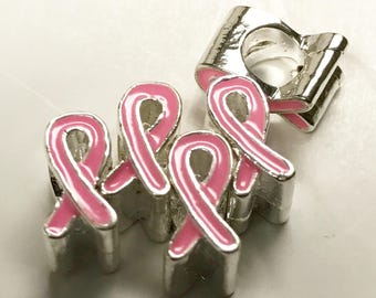 5 Pink Ribbon Awareness Beads, European Jewelry Beads, Big Hole Beads, 6625, 403a