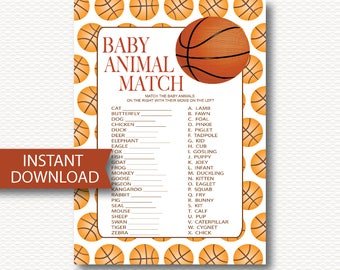 BASKETBALL Animal Match Baby Shower Game Card - Instant Download - Cute All Star Sports Basketball DYI Printable Baby Boy   Shower Game B104
