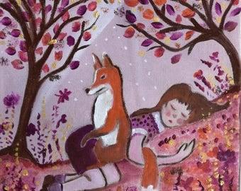 Fox sleep! Small canvas magical world of childhood