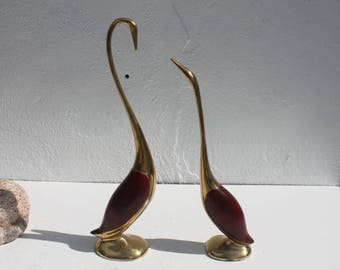 Vintage Brass Cranes Decorative Table Sculptures A Pair.