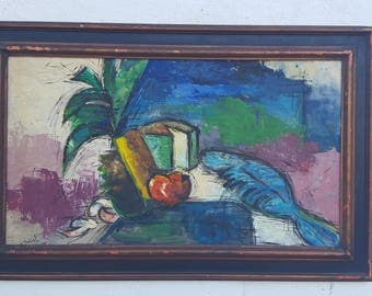 Vintage Setting  Kitchen Texture Oil Painting Signed  By Listed Artist  H. Montiel