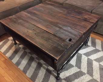 Rustic Reclaimed Wood Table with Industrial Iron Pipe Legs