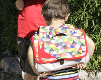 Native satchel light gray and multicolor