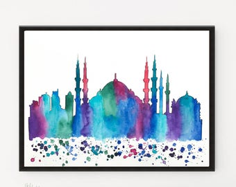 Istanbul painting, City art, Art Print, Printable art, Watercolor Skyline, Illustration art, Travel art, Watercolor art, Holiday gift