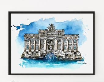 Rome Painting, Italy wall art, Original Watercolor, City art, Trevi Fountain, Architecture art, Travel Art, Housewarming gift, Holiday gift