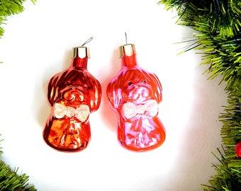Puppy Soviet Ornament Set Of 2 Christmas Ornament Puppy Orange Pink Christmas Decor Shiny Colors Blown Glass Mercury Glass Dog Figurine Gift