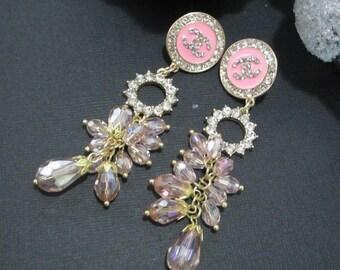 Designer Inspired Wedding Drop Stud Pierced Ladies Pink Rhinestone Earrings, party earrings, stocking stuffers, gifts for her, birthday gift