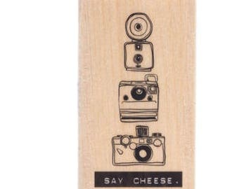 Camera Stack Wood Rubber Stamp