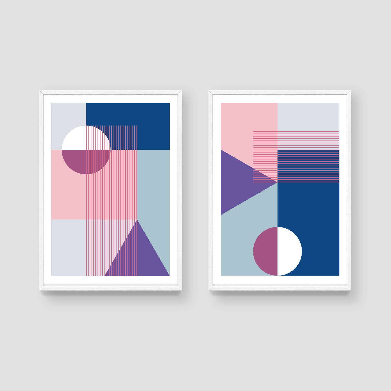 Set of 2 contemporary art print colour block print for Minimalist art decor