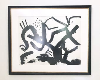 Black and White Large Abstract Painting Signed Framed