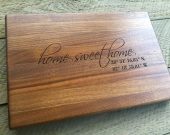 Home Sweet Home, Custom Cutting Board, Personalized Cutting Board, Realtor Closing Gift, Housewarming Gift, Coordinates, Realtor Logo