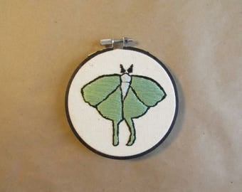 Luna Moth Hand Embroidery Wall Hanging // Moth Art, Bug Embroidery, Handstitched Art, Bug Home Decor, Butterfly Art, Nature Hoop Art