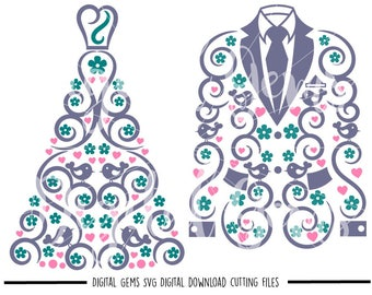 Wedding dress and suit jacket svg / dxf / eps / png files. Digital download. Small commercial use ok.