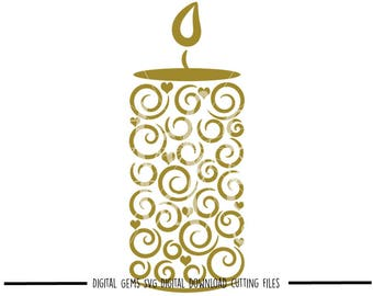 Candle svg / dxf / eps / png files. Digital download. Compatible with Cricut and Silhouette machines. Small commercial use ok.