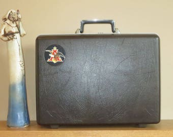 Samsonite Textured Briefcase With Combination Lock and Anheuser Busch Logo - Rare Beer Swag